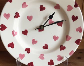 "Emma Bridgewater 8.5"" Clock- Pink Hearts - Little Mark on"
