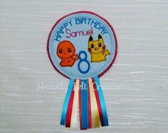 Personalised Pokemon Birthday - Pokemon Party - Pokemon Badge Rosette - Childrens Celebration Gift Display - Pikachu party - Charmander