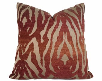 """Bronze Brown Ombre Rust Tribal Tiger Animal Stripe Pillow Cover, Fits 12x18, 12x24, 14x20, 16x26 16"""" 18"""" 20"""" 22"""" 24"""" Cushion Inserts"""