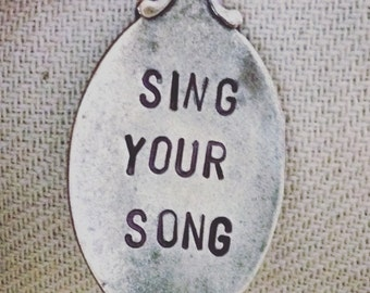 Sing Your Song, House Wren, Souvenir Spoon Magnet, Hand Stamped