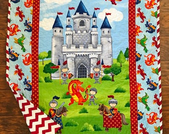 """So Cute *Castle for Knights and Dragons"""" 39""""x42"""" Quilt Baby Crib Nursery Bedding Toddler Blanket Stippling Quilted Napping Blanket"""
