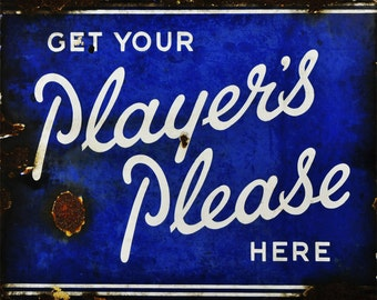 Players Please Cigarettes Vintage Advertising Enamel Metal TIN SIGN Wall Plaque