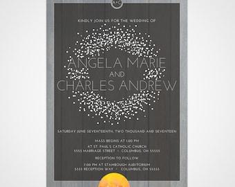 Rustic Wood Themed Wedding Invitation Suite- Invitation, Response Card & Details Card - Dark Gray/ Rustic Wood themed Invite  **PRINTABLE