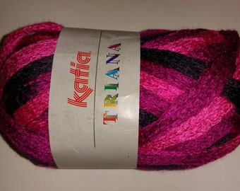 Katia Triana color #45 Black, magenta, hot pink mesh yarn