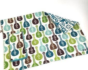 Eco Friendly Kids Roll-up Placemat & Cloth Napkin Set, ORGANIC Guitars