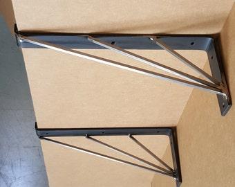 """Set of two 16"""" Modern, Chic Steel Shelf Brackets."""