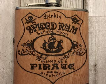 Personalised hip flask stainless steel with wood. Wood burned pyrography. Alcohol gift for men great for groom, wedding, Father's Day etc.