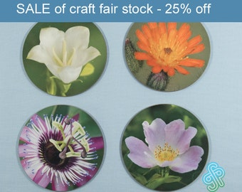 Flower coasters - set of four - harebell, dog rose, passion flower, hawkweed