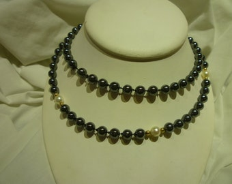 C16 Vintage Hematite and Pearl Necklace.