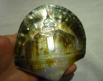 D69 Mother of Pearl Carved Court House on Shell.