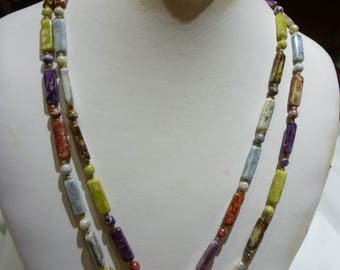 F24 Vintage Multicolored Polished Stone Necklace.