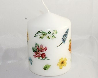 Candle candle with flowers, spring, flowers, white Stumpe stained, white daffodil, spring, pansies, daffodils, candle Eisbaerchenmama