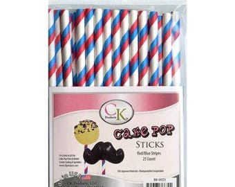 STRIPE RED & BLUE Cake Pop Sticks
