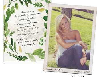 Vintage Photo Graduation Announcement & Graduation Party Invitation - Watercolor- Customized for you!  Printable or Printed with Envelopes.