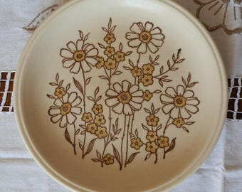 Vintage 1970's Biltons Ironstone Brown and Cream Floral Tea Plate / Bread and Butter Plate / Side Plate, Made in Staffordshire, England