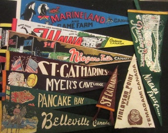Vintage Felt Travel Pennants - Ontario - Belleville, Pancake Bay, Myer's Cave, St. Catharines, Temagami, Wawa, Niagara Falls