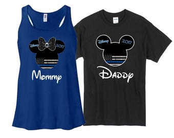 Personalized Thin Blue Line Disney Custom Shirts Family Of 2