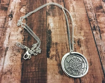 Wax seal necklace - compass necklace - charm jewelry - nautical jewelry - gift idea - unisex necklace