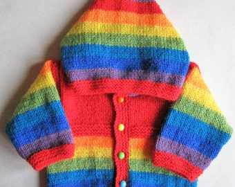 Hand knitted red rainbow hooded jacket for baby boy or girl aged 0 to 3 months - 100% machine washable acrylic DK yarn