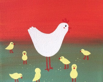 """Chickies, 4""""x4"""" acrylic painting on canvas, mother chicken with 7 baby chicks, over a red and green background"""