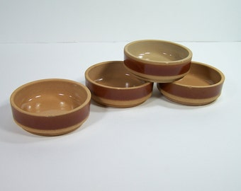 4 Gien's sandstone cups glazed inside vintage  Made in France