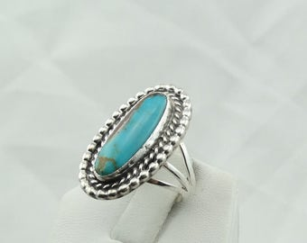 Hand Made Sarah Chee Sterling Silver And Turquoise Southwest Native American Navajo Ring  #SARAH-SR2