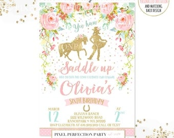Cowgirl Birthday Invitation Cowgirl Invitation Floral Pink Mint Gold Cowgirl Birthday Invitation Gold Cowgirl Invitation Cowgirl Party