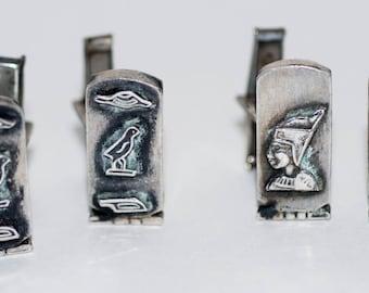 Genuine Vintage Mid Century Silver Cufflinks Egyptian Hieroglyphic motif, two pair-- Free Shipping!