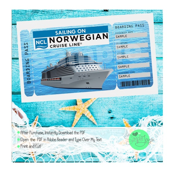 Norwegian Cruise Printable Ticket Cruise Ship - How much is a cruise ship ticket