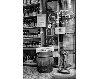 Belgian Beer Art Photograph, Belgium Black and White Photo, Brussels Liquor Store Print, Europe City Picture, Home Bar Wall Art