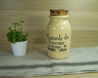 Tall mustard jar with cork mustard Bornier  mustard from Dijon with fine vinegar  | French vintage Kitchen 1960
