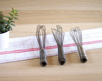 3 vintage whisks, eggs beater, hand mixer, wire beater | Kitchen utensil 1940