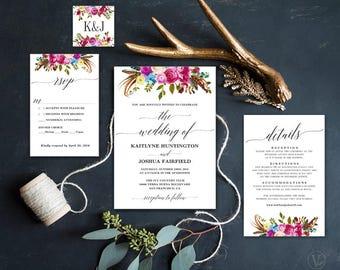 Wildflowers Boho Wedding Invitation, Printable Wildflowers Floral Boho Wedding Invitation Template, Editable Text, Wildflowers