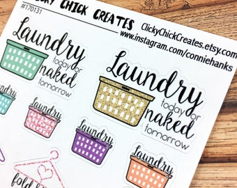 LAUNDRY Planner Stickers! Laundry baskets, clothes hangers, fold & hang! Laundry today or naked tomorrow! {170131}