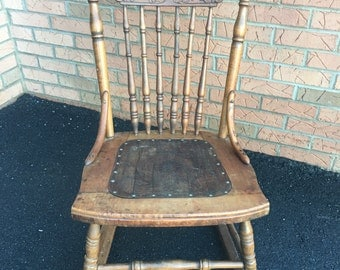 Antique Petite Rocking Chair Wood Ornate Spindle Nailhead