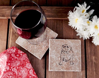 Set of 4 English Bulldog Travertine Stone Coasters