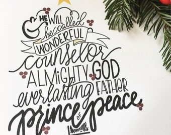 Wonderful Counselor, Hand Lettered, Hand Drawn, Wall Hanging, Christmas, Print, Typography, Christmas Tree