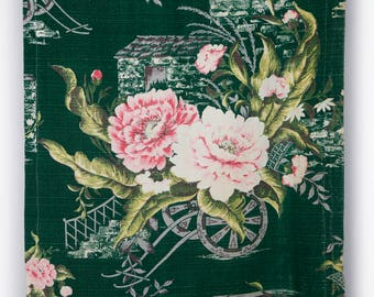 Pink and green floral barkcloth fabric panel 40's 50's