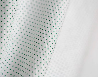 vintage soft white cotton with tiny green polka dots - dotted fabric