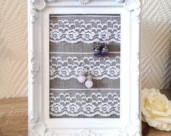 Earrings holder, earrings organizer, earrings display, Framed earrings holder, earring holder, lace earring holder, perfect gift for her