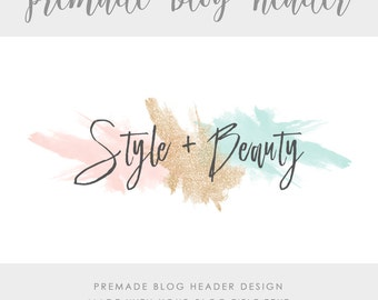 Premade Blog & Website Header - Design #1 - Made with text and colors of your choice