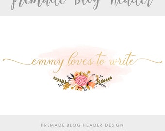 Premade Blog & Website Header - Design #5 - Made with text and colors of your choice
