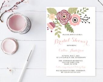 Bridal Shower Invitation, Floral Bridal Shower Invitation, Pretty Bridal Shower Invite, Printable Bridal Shower Invite, Floral Shower [225]