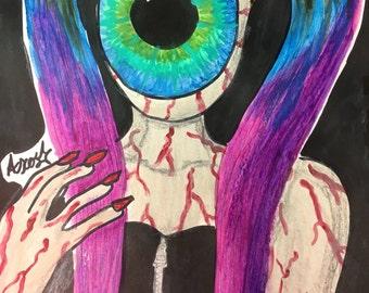 Eyeball Monster Girl Painting