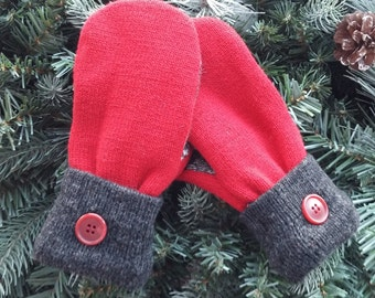 CLEARANCE SALE -  Children's Recyled Sweater Mittens, Recycled Sweater Mittens,  Red Gray Black and White Sweater Mittens - RSM000137