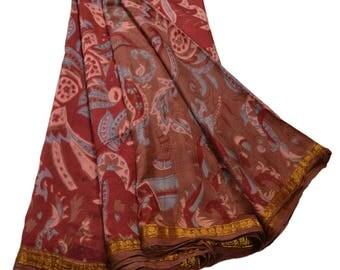 KK Printed Saree Pure Silk Craft Brown Fabric Zari Border Sari
