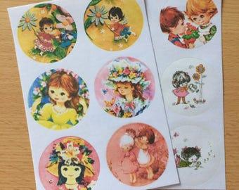 Vintage Inspired Cute Kids Stickers