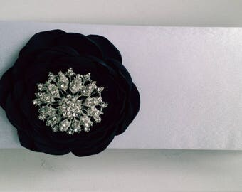 White and Black Bridal Clutch with Rhinestone ~ Wedding Clutch, Bridesmaid Clutch ~ Bouquet Clutch- Evening Bag ~ Mother of the Bride, Prom