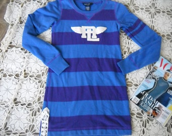 Carribean Blue and Purple Striped Ralph Lauren cotton knit long sleeved dress for Girls, Size 8 to 10, with lace up side