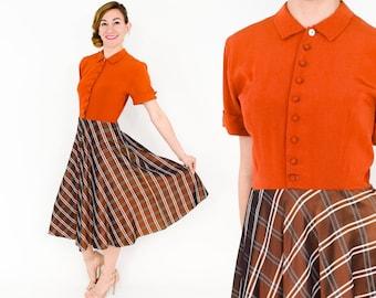 40s Rust & Brown Plaid Dress   California Modes   Medium